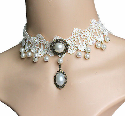 Elegant Pearl Choker White Lace Pendant Necklace Women's Fashion Jewelry
