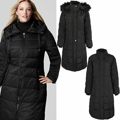 Ladies Womens Plus Size Faux Fur Hooded Quilted Padded Winter Coat Puffa Jacket