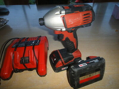 Milwaukee Impact Driver M18 Red Lithium Charger,2 Batteries Plus Driver