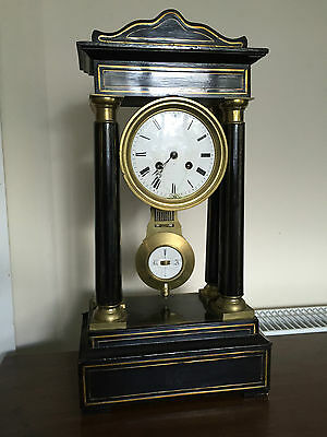 Antique French Ebonised & Inlaid Portico Clock