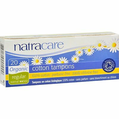 NEW Natracare Tampons Non-Applicator Regular 20 Count Pack of 3