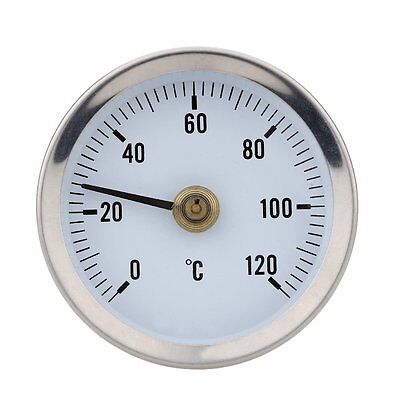 Hot Water Pipe Thermometer 0-120°C 63Mm Dial Bimetal Temperature Gauge In-022