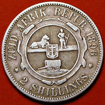 South Africa 2 Shillings 1896 KM# 6 . Silver.