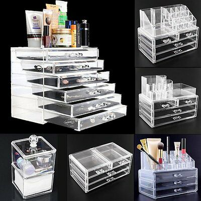Clear Acrylic Cosmetic Organizer Make Up Drawers Holder Case Jewelry Storage Box