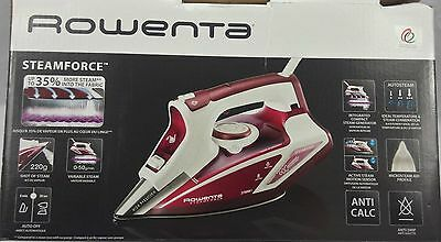 New Rowenta DW9230 SteamForce Stainless Steel Plate Red & White Steam Iron