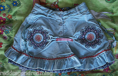 NEW - Oilily Skirt -  AGE 4 years - embroidery on warm velvet cotton NEW