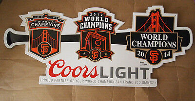 "36"" X 15"" Coors Light San Francisco Giants 2010 12 14 World Series Champs Sign"