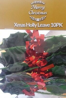 pack of 10 holly leaves cake decorating christmas