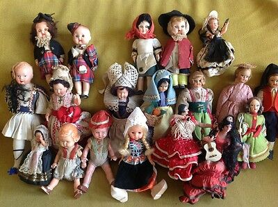 Collection of national costume souvenir dolls 1950s