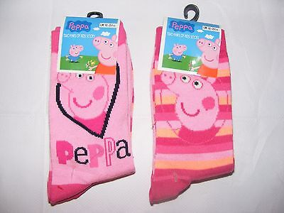 GIRLS CHARACTER SOCKS PEPPA PIG PINK PACK OF 2 PAIRS SOCKS Size 12-2.5 New