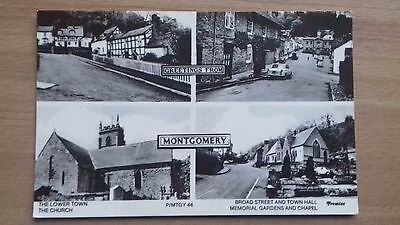 Wales : Montgomery Multi View Postcard Showing Classic Car