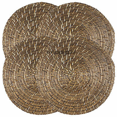 Set of 4 Bamboo Rattan Placemats Round Serving Mats Dining Table Place Settings