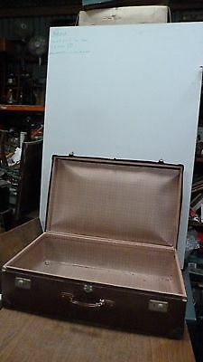 Large Vintage Travel Suitcase - Brown - Prop Display Item Well Travelled (5722)