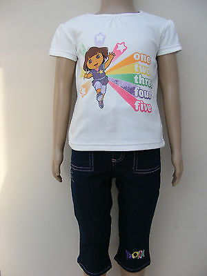 Girls Dora the Explorer 2 Piece Set Cropped Jeans & T Shirt Ages 2 3 4 5 6 Years