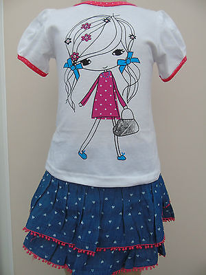 Girls Xirubaby Denim Rara Skirt & Girl T Shirt Age 2-3 3-4 & 5-6 Years NEW