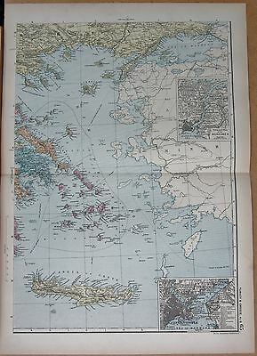 1890 Large Victorian Map - Turkey South, Bosporus, Constantinople Crete Cyclade