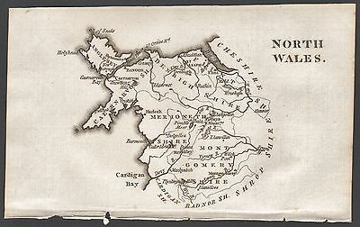 1790 Antique County  Map - Aikin - North Wales,anglesey,merioneth,montgomery,fli