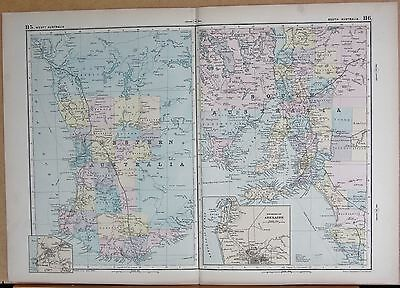 1890 Large Victorian Map -Australia West And South, Insets Adelaide,perth
