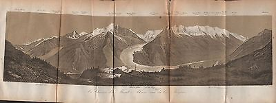 1873 Baedeker Antique Map- Switzerland- Panorama, Mont Blanc Massif From Flegere