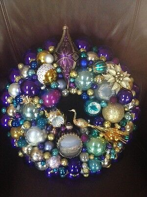 """18"""" Vintage Glass Ornament Wreath Purple Light Teal Blue Gold ~ Awesome Colors!"""
