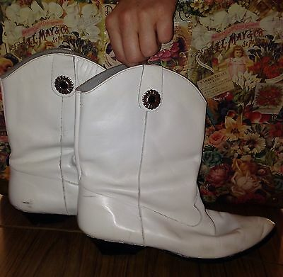 TONY BIANCO BOOTS GENUINE 80's  AUTHENTIC VINTAGE 8 cowboy LEATHER WHITE BOOTS