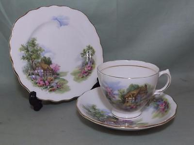 Vintage Royal Vale Cottage Garden Trio Tea Cup Saucer & Side Plate (Lot A)