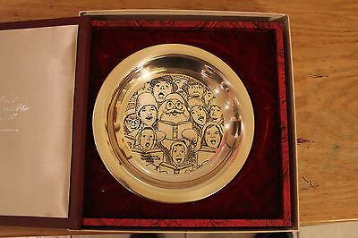 """1972 Franklin Mint """"The Carolers"""" Sterling Silver Plate by Norman Rockwell"""