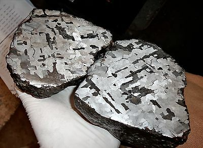 Beautiful Very Large 6390 Gm. Etched Campo Del Cielo Meteorite Pair!