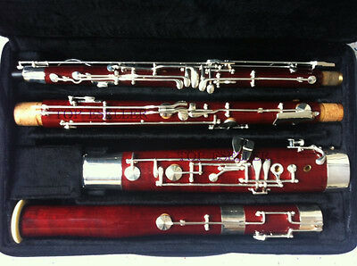 Professional Maple Wooden Bassoon High D E Keys Silver Plated With Case
