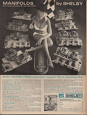 Vintage original full page magazine ad for Carroll Shelby Ford intakes - 1969