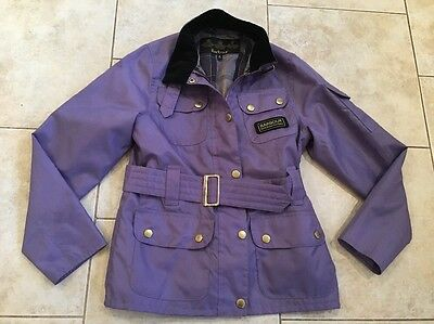 Girls Babour Jacket Coat Worn Once 7 8 9 Lilac Purple