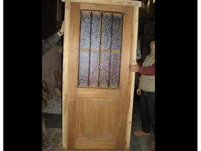 Single Entry Door With Wrought Iron Inserts #B1666