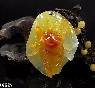 100% Natural Hand-carved Chinese Jade Pendant jadeite Necklace cicada 0885