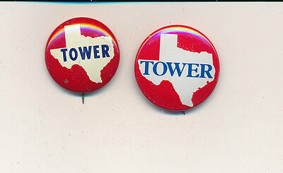 John Tower for U.S. Senate 1960-'78 Two Texas TX campaign buttons