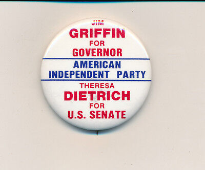 California CA  1982 Griffin for governor & Dietrich U.S. Senate Amer Ind Party