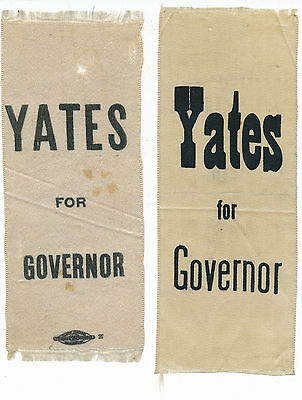 1900 Yates for Governor (2) Two Illinois IL ribbons