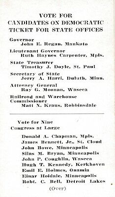 1932 Minnesota MN palm card John Regan for governor & ticket for state offices