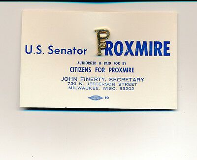 William Proxmire for US Senate card and gold metal pin Wisconsin WI