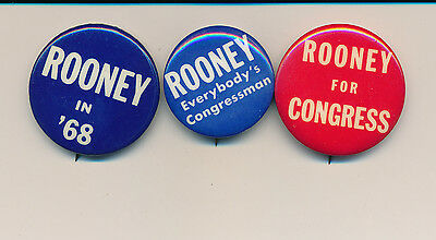 Three 3 Rooney for U. S. Congress campaign buttons Pennsylvania PA
