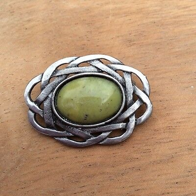 Connemara marble Celtic pewter brooch. Irish made Jewelry design craft Galway