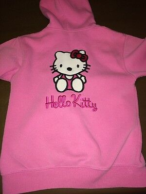 Hello Kitty Jersey Jacket Age 9-10 Years In Pink Hooded With Appliqué  R5896