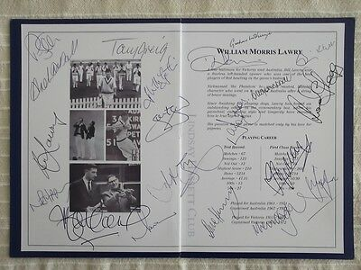 Lindsay Hassett Club, Tribute Lunch To Bill Lawry, With 20 Original Signatures.