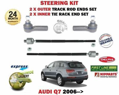 For Audi Q7 4L 2006-> 2X Outer + 2X Inner Steering Rack Track Tie Rod Ends Set