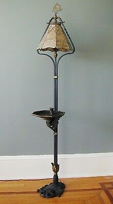 Antique Arts Crafts Crest Lamp Co Chicago Wrought Iron Floor Oscar Bach Style