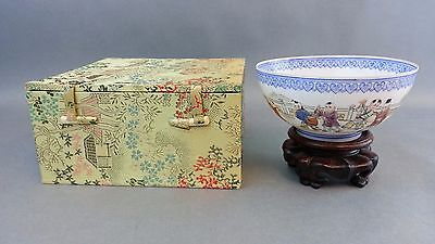 Vtg Chinese Paper Thin Hand Painted Porcelain Eggshell W/ Box