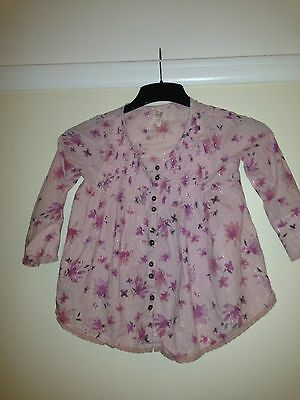 Next Girls Pink Floral 3/4 Length Sleeve Top Age  5