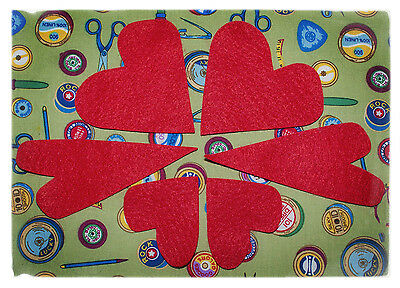 3 sizes shapes craft embellishments Red felt heart die cuts small medium large