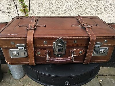 Vintage retro leather suitcase
