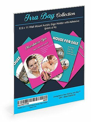 Irra Bay 8.5 x 11 Wall Mount Acrylic Sign Holder with Adhesive, No Drilling 6