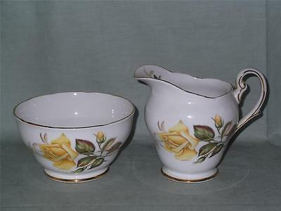 "Royal Standard ""Sunset"" Milk Jug & Sugar Bowl Yellow Rose White Inside Patt.2418"